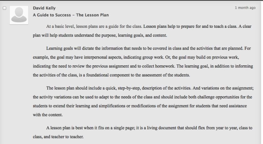 Lesson Plan Post